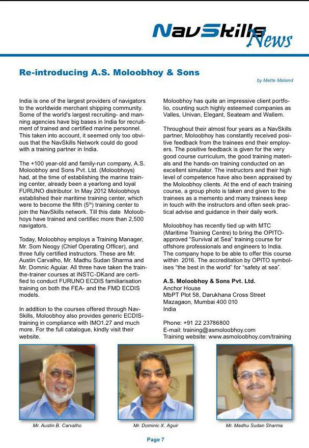 Moloobhoys Training Centre on NavSkills Newsletter.